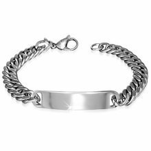 Urban Male Solid Stainless Steel 9mm Double Curb Link ID Plate Bracelet