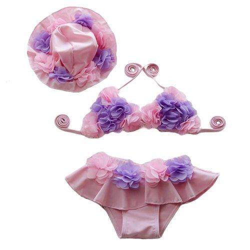Pink Cute Girls Swimsuit Girls Bathing Suits Little Girl Bikini cap, 15-20 kg