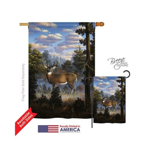 Breeze Decor 10061 Wildlife & Lodge Morning Light 2-Sided Vertical Impression House Flag - 28 x 40 in.