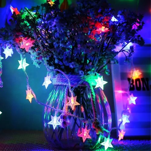 Timewanderer 5m 16 4ft 50 Colorful Star Led String Fairy Light Aa Battery Operated Bright Decorative Led Lights On Clear Wire For Home Diy