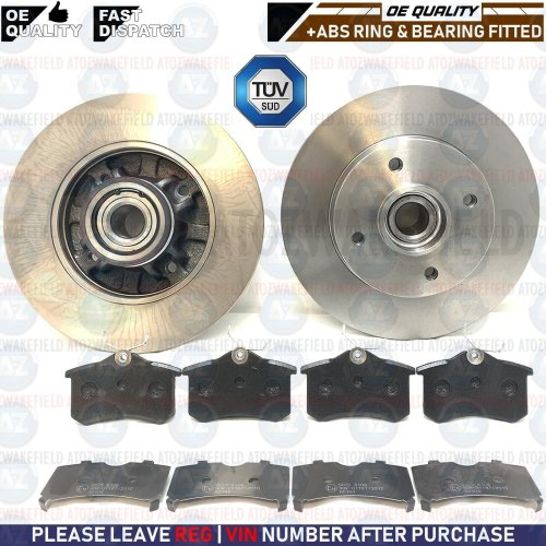 FOR PEUGEOT 308 1.6 HDi REAR BRAKE DISCS & PADS ABS SENSOR BEARINGS FITTED 249mm