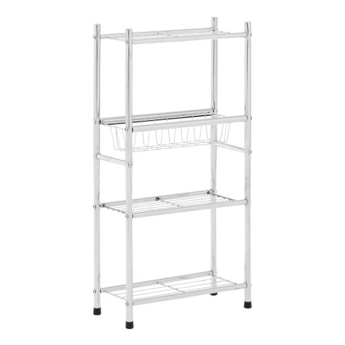 4 Tier Shelf Unit With Slide-out Wireframe Basket Silver
