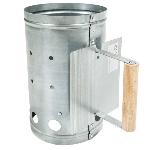 BBQ firestarter with heat shield silver