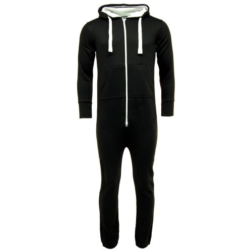 Mens Plain Black Pyjama Onesie Jumpsuit