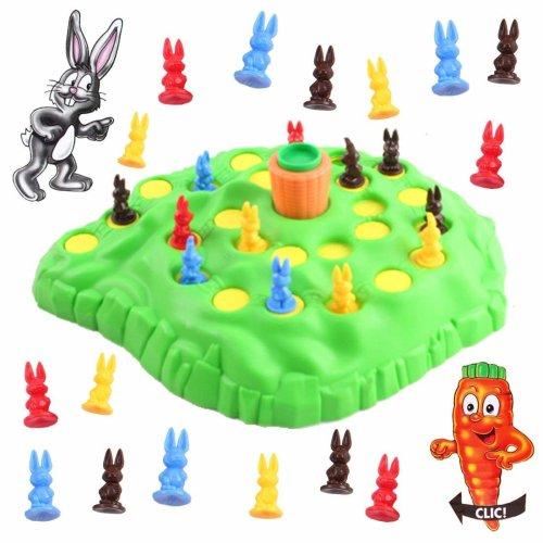 deAO Bunny Hop Funny Rabbit Family Fun Board Game for Children