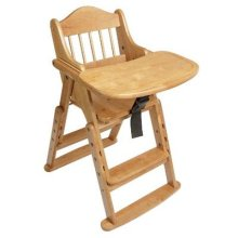 Safetots Multi-Height Folding Wooden High Chair, Natural Wood