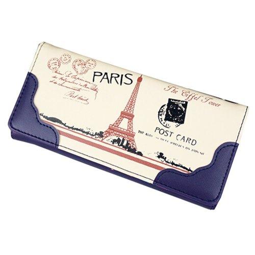 Elegant PU Long Wallet Purse Clutch Wallet Card Holder (Royal blue)
