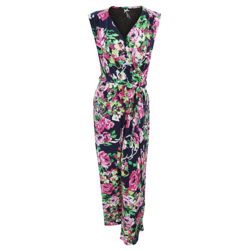 Womens/Ladies Rose Print Crossover Jumpsuit