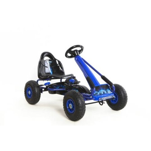 RideonToys4u Top Racer Pedal Go Kart With Rubber Air Wheels,Gear Brake Lever + Adjustable Seat Colour Blue Ages 3-7 Years