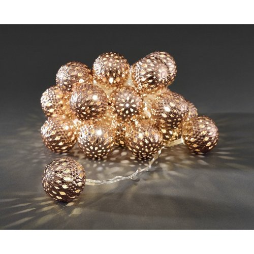 Xmas 24 COPPER Metal Ball Fairy Decoration / Tree Lights Indoor warm white LED