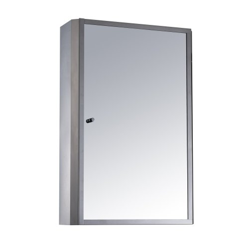 Homcom Stainless Steel Bathroom Mirror Cabinet 2 Shelves W/ Single Door (40h X 13d (cm))