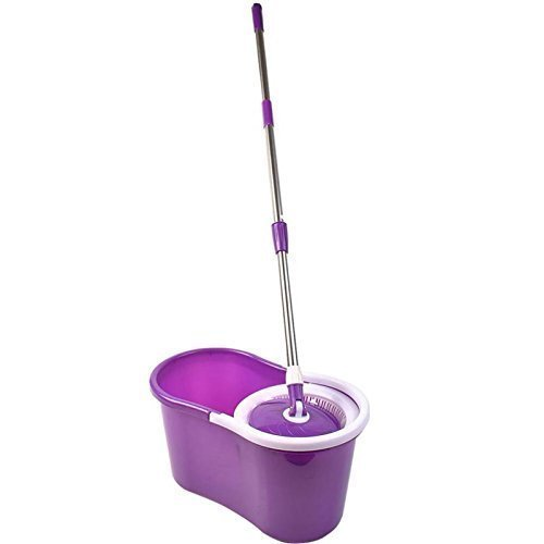 Gr8 Home 360° Floor Magic Wring Spin Mop Bucket Set Microfiber Rotating Spinning Dry Heads With 3 Cleaning Heads (Purple)