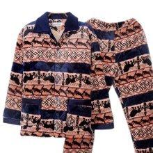 Men Pajamas Warm Thick Cotton Winter Suit Modern Set Sleepwear/Nightwear Clothes for Home, C1