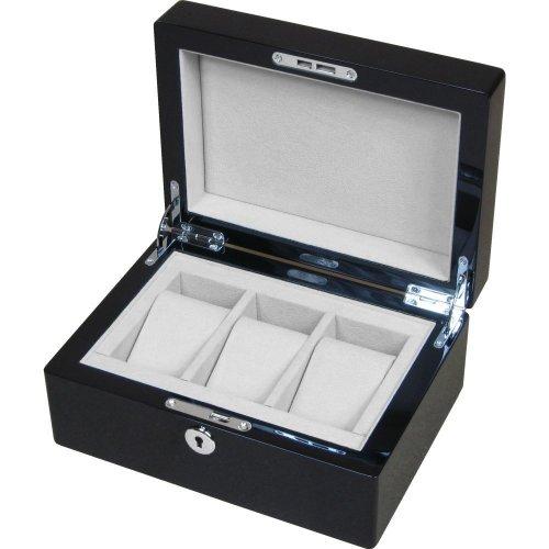 Piano Black 3 Watch Storage Box with Lock