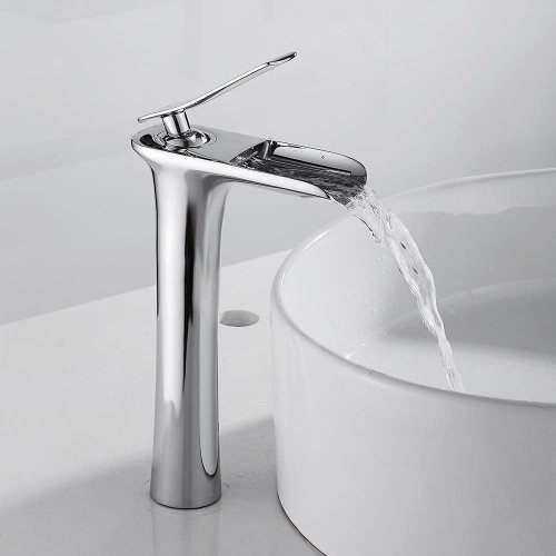 Waterfall Counter Top Basin Mixer Monobloc Tap Bathroom Sink Taps Tall Chrome Brass Faucet