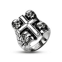 Multi Death Skull and Cross Wide Cast Surgical Steel Ring