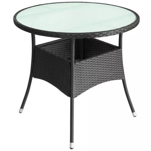 vidaXL Outdoor Table Poly Rattan 90x74 cm Black