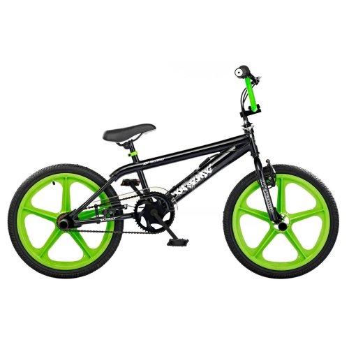 """XN Skyway Freestyle Kids 20"""" Mag Wheels BMX Bike Bicycle Gyro Black Green XN43"""