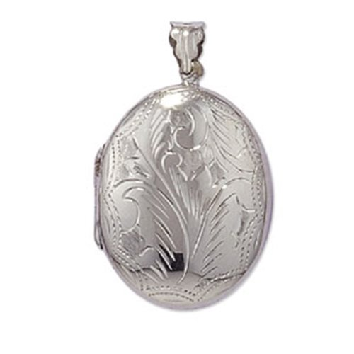 Childrens Sterling Silver Large Engraved Oval Locket On A Curb Necklace