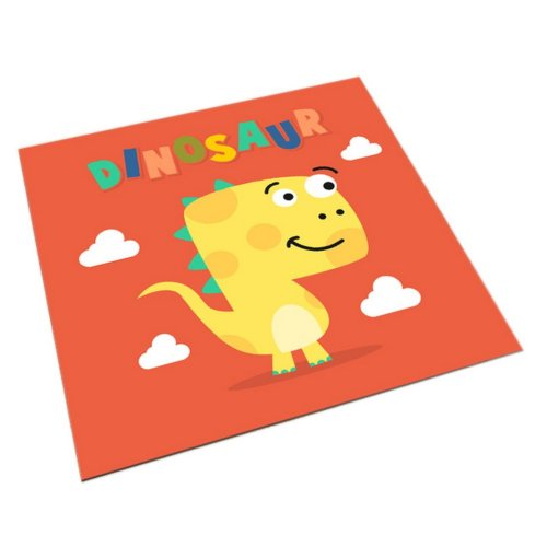 Square Cute Cartoon Children's Rugs, Orange And Cartoon Dinosaurs