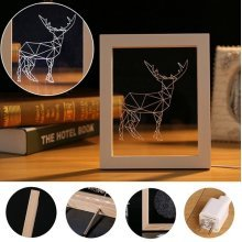 Creative Deer Photo Frame 3D Illuminated Light Desk Lamp Night Novel Festival Gift