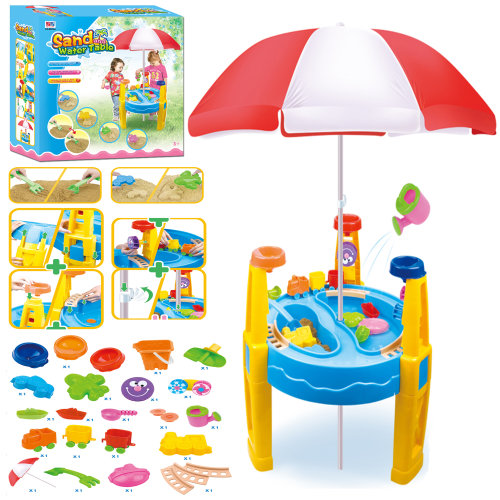 Sand and Water Play Table with Parasol and Accessories