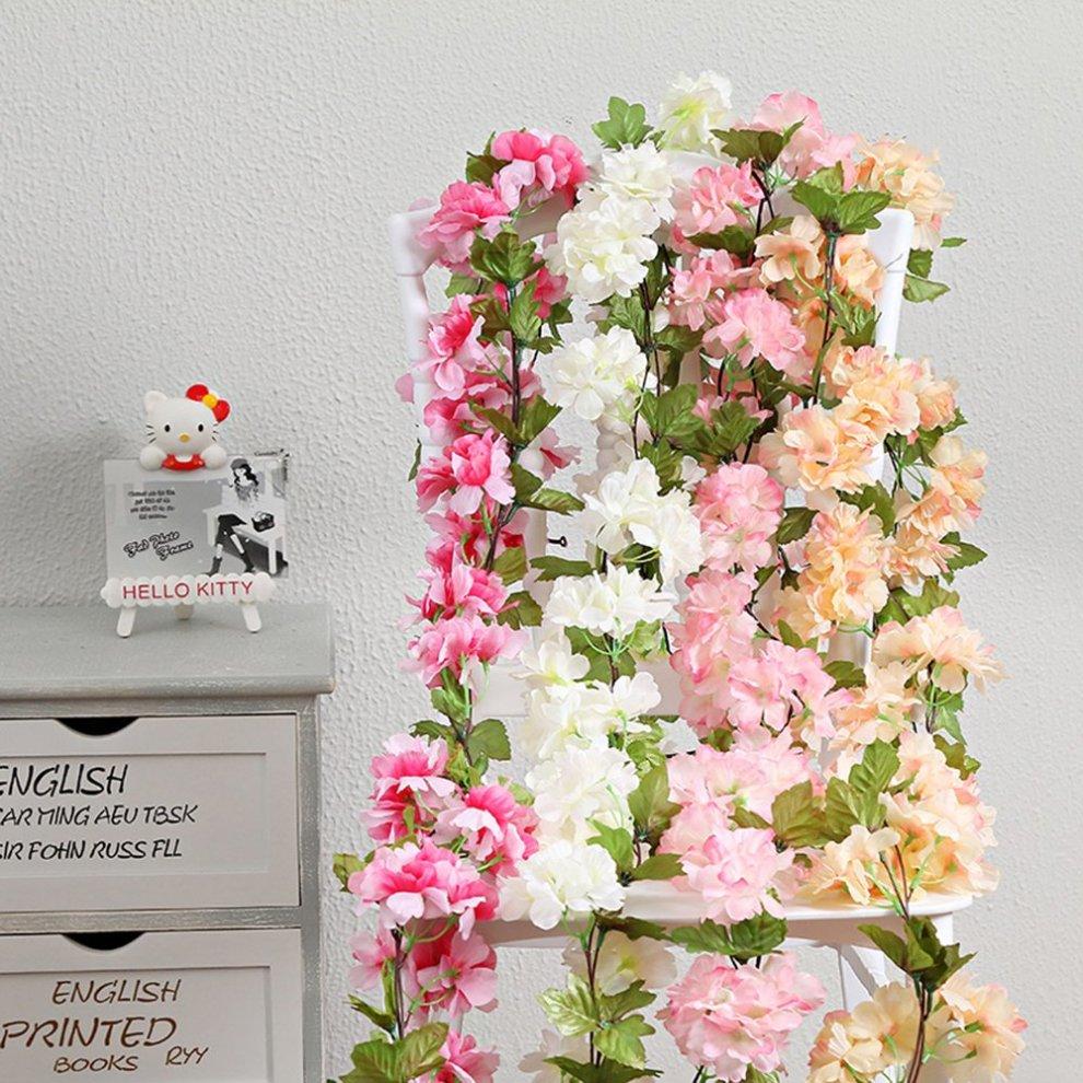 Home & Garden Artificial Decorations 95cm Long Artificial Silk Rose Flower Vine Fake Garden Hanging Flower Plant Rattan Home Decor Garland Wedding Decoration Elegant Shape