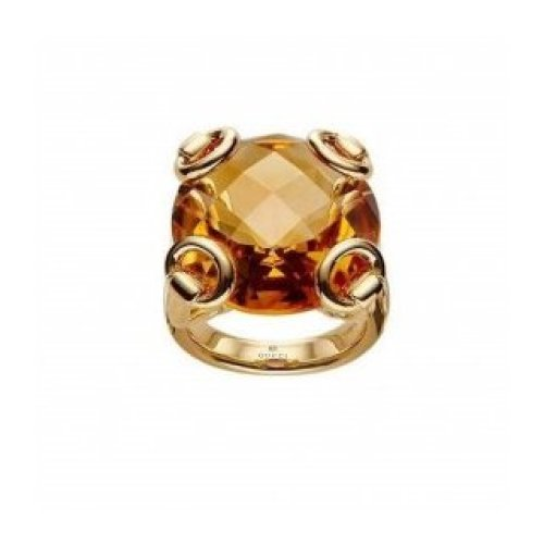 GUCCI HORSEBIT COCKTAIL RING 18KT YELLOW GOLD QUARTZ ORANGE 160447 IOHJ08064