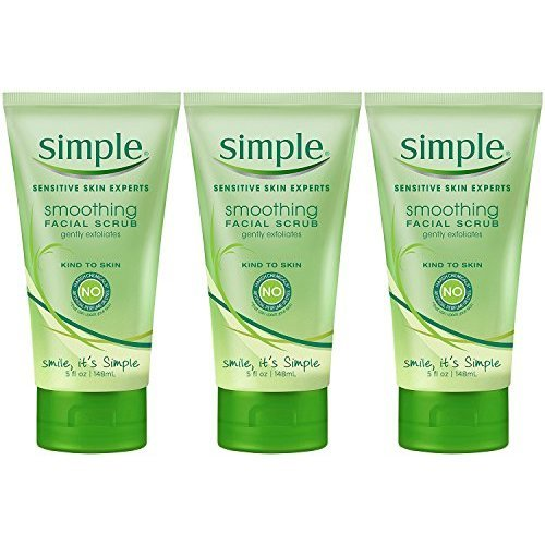 Simple Smoothing Facial Scrub 5 Ounce Tube (148ml) (3 Pack)