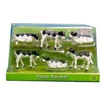 1:32 Black & White Kids Globe Farm Pack Of 6 Lying & Standing Calves - 132 Scale -  pack calves kids globe 132 black white 6 scale