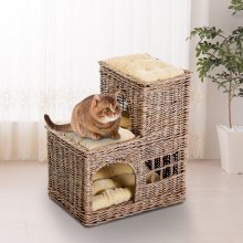 PawHut Handcrafted L Shape Wicker Cat Cave Play House Condo