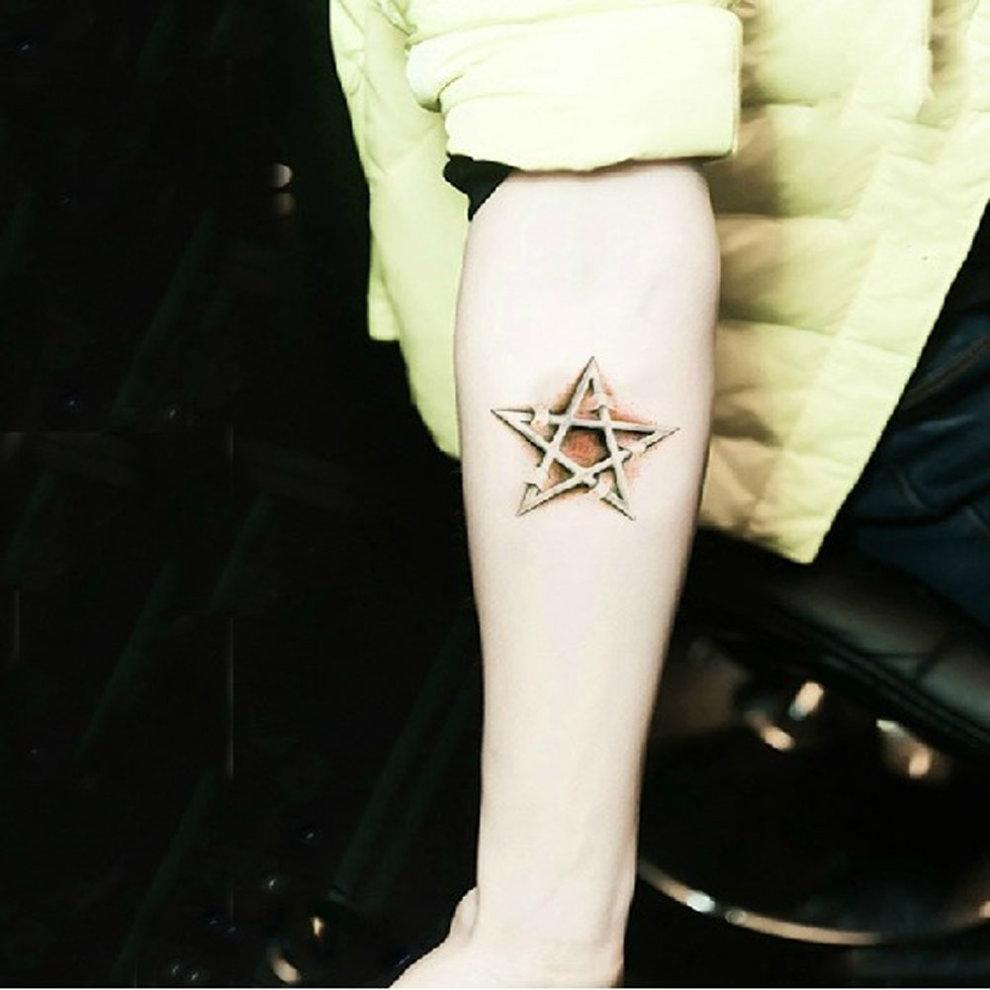 33df9c85b ... Set of 2 Cool Stylish Star Totem Tattoo Body Tattoo Stickers Temporary  Tattoos - 1. >