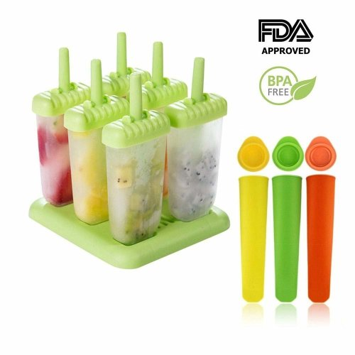 Ice Lolly Moulds | 6 Cell Popsicle Ice Lolly Mould + 3 Silicone Mold |BPA Free & Reusable| Environmentally Friendly | Perfect for Children,...