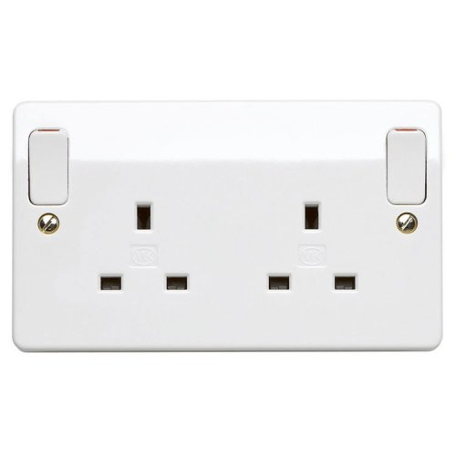 MK Logic Plus K2746 WHI 13A  Double Pole Switchsocket w/out rockers, 2 Gang