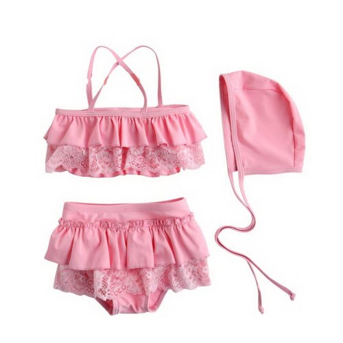Cute Babe Girl Lace Swimsuit, Two Piece, Pink, 2-3 Years Old, 4T