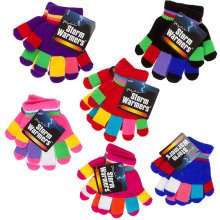Childs Multi-colour Stripe Magic Gloves With Hanger - Kids Knitted Winter Girls -  kids magic gloves knitted winter girls boys warm thermal insulated
