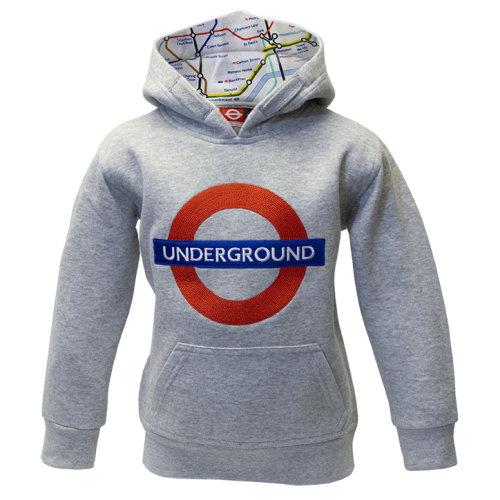 Kids Licensed Chain Stitch Embroidery Underground Hoodie Grey