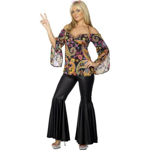 Uk 16-18 Women s Hippie Hottie Fancy Dress Costume - costume hippie 60s fancy  dress hippy ladies womens top adult 1960s 70s outfit flares smiffys on OnBuy adc87a9c4
