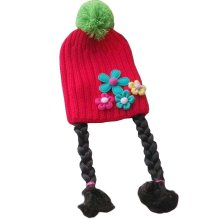 Cute Baby Girl Knitted Hat Kids Cap with Braids Red Flowers