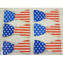 Usa Flag Print Party Bow Ties -  party usa bowties 100 pack favor independence day 4th july dress up accessory