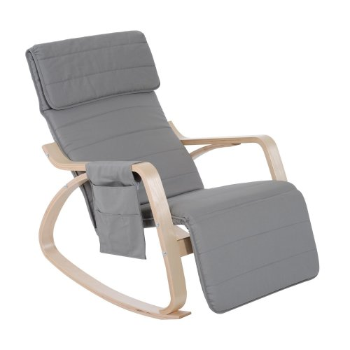 Homcom Wooden Rocking Lounge Chair Recliner Seat with Adjustable Footrest