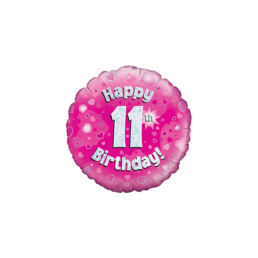 Oaktree UK 18 Happy 11th Birthday Pink Holographic