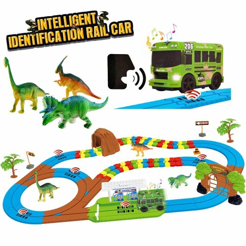 deAO Intelligent identification Rail Car with Jurassic Dino Dinosaur World Toys playset with Light and Sound