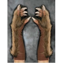 Hand Gloves Wolf With Fur Brown