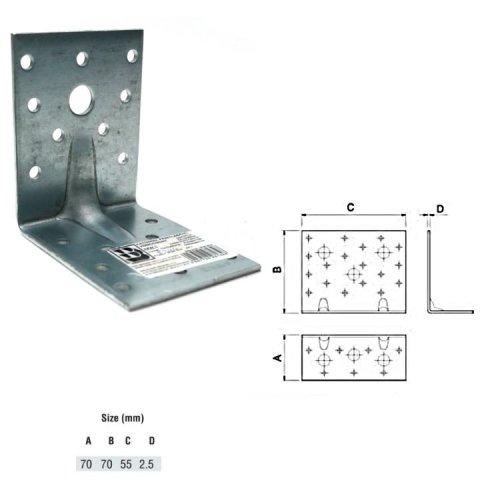 Reinforced Angle Bracket KPW 70x70x55mm HEAVY DUTY pack of 001