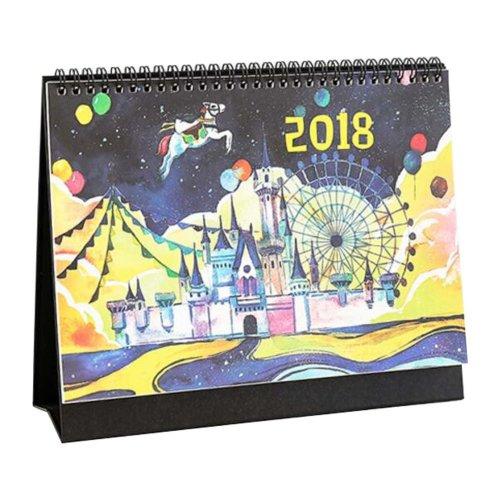 2017-2018 Lovely Vivid Calendar Desk Standing DIY Calendar-Park