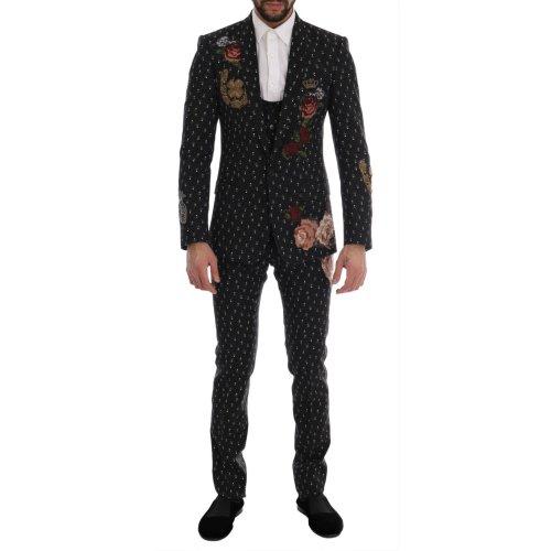 Dolce & Gabbana Black Crystal Roses MARTINI 3 Piece Suit