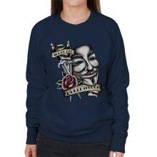 V For Vendetta Mask Traditional Tattoo Style Women's Sweatshirt