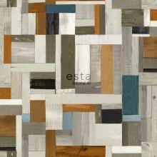 HD non-woven wallpaper scrap wood vintage look