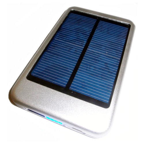 LMS DATA Solar Powered Universal PowerBank Charger with USB Port, 5000mAh, Silver